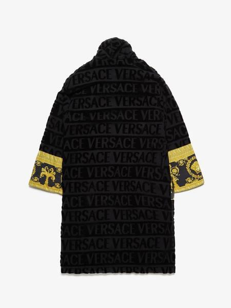 [Pre-Loved] Versace Male Black Logo Embossed Robe   Scarf