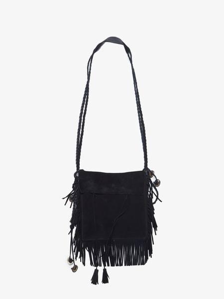 [Pre - Loved] Saint Laurent Paris Suede Fringed Cross Body Bag - Black