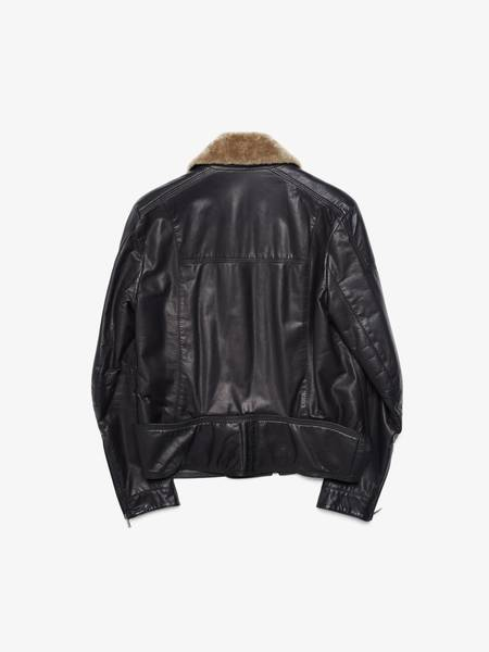 [Pre-Loved] Balenciaga Male Black Fur Collared Quilted Leather Jacket-BLACK