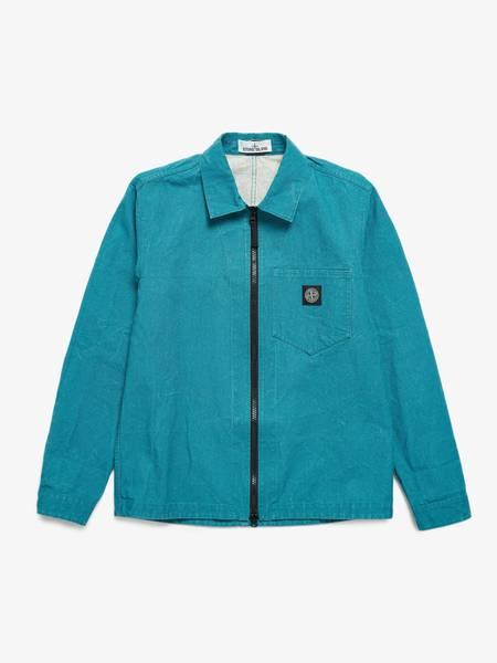 Stone Island Emerald Denim Washed Zipped Logo Patched Cotton Jacket