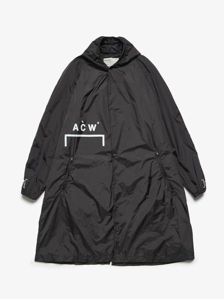 [Pre - Loved] A Cold Wall Male Logo Text Printed Polyamide Raincoat - Black