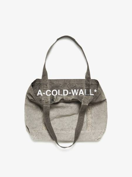 [Pre - Loved] A Cold Wall Male Washed Logo Text Printed Cotton Tote Bag - Grey