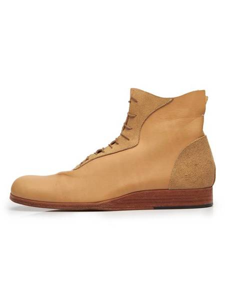 PRE-LOVED Takahiromiyashita The Soloist Vachetta Natural Leather Lace Up Boots - sand