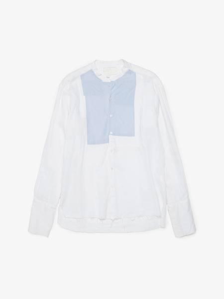 PRE-LOVED Greg Lauren Patchwork Detailed Studio Cotton Shirt - White/Blue