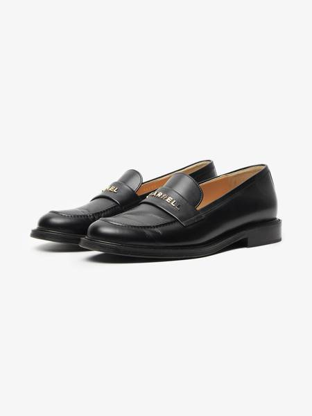 [Pre - Loved] Chanel Male Logo Leather Loafers - Black