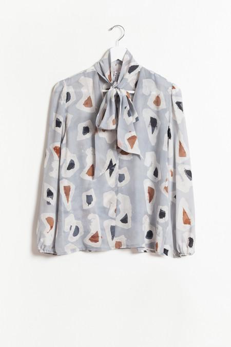 Osei-Duro Tie-neck Blouse - Grey Platelets