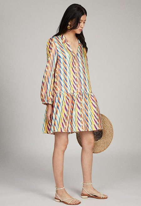 Saloni Jas Dress - Sherbet Oblique Print