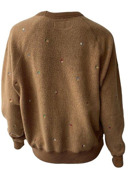 The Great. Sherpa College Sweatshirt - Light Cider