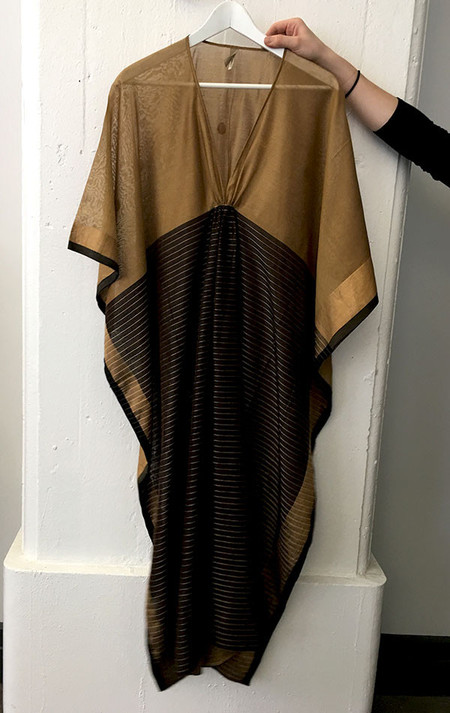 Two caramel and black silk and cotton caftan