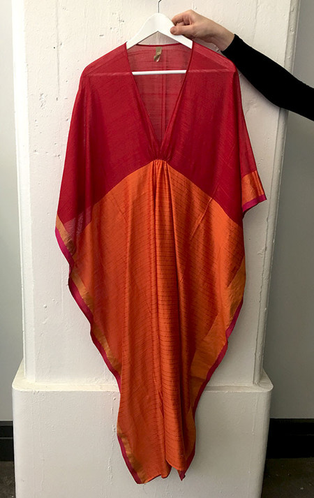 Two Orange Silk and cotton caftan
