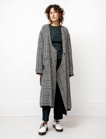 Y's by Yohji Yamamoto Asymmetrical Collarless Coat - Plaid/Black