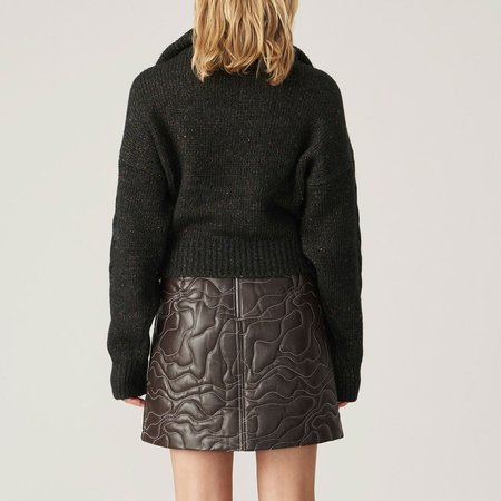 Ganni Cable Knit Zip Front Sweater