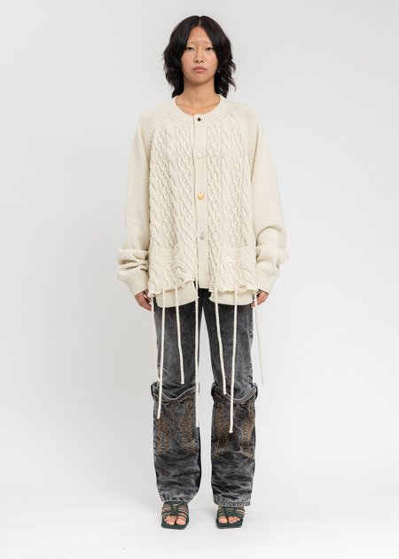 Doublet Recycle Wool Cable Cardigan - Ivory