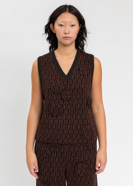 Doublet Khaki Monogram JQ Knit Vest - Khai