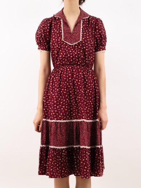 Erin Templeton cottage core blouson dress gunne sax style - wine floral