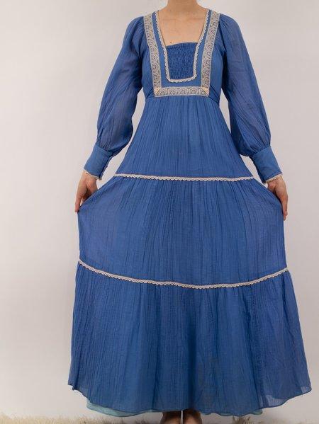 Vintage Erin Templeton periwinkle 70s gunne sax style prairie dress - blue