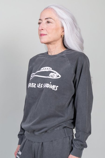 Clare V. Liberez Les Sardines Sweatshirt - Faded Black/Cream