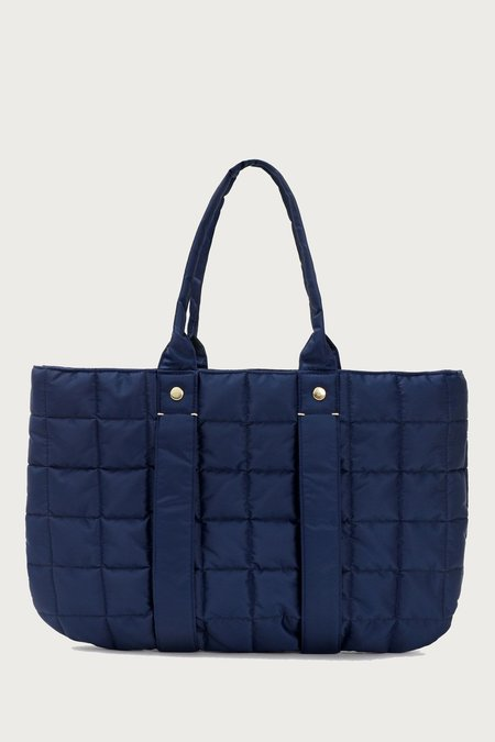Clare V. Tropezienne Quilted Puffer Tote - Navy