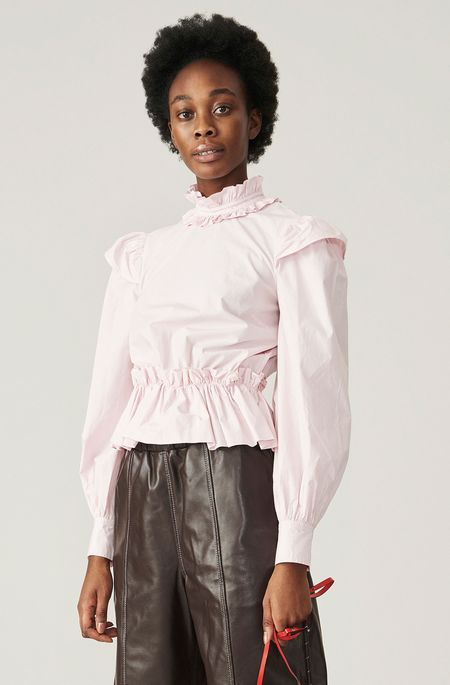 Ganni Ruffled Cropped Blouse - Pale Lilac