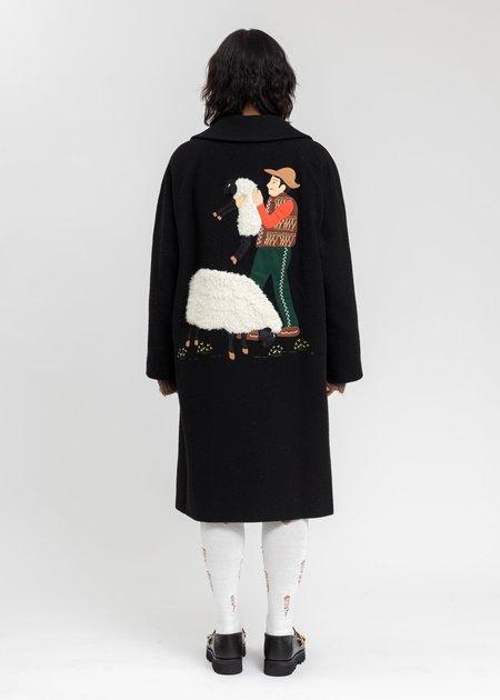 Doublet Surfork Wool Embroidery Coat - Black