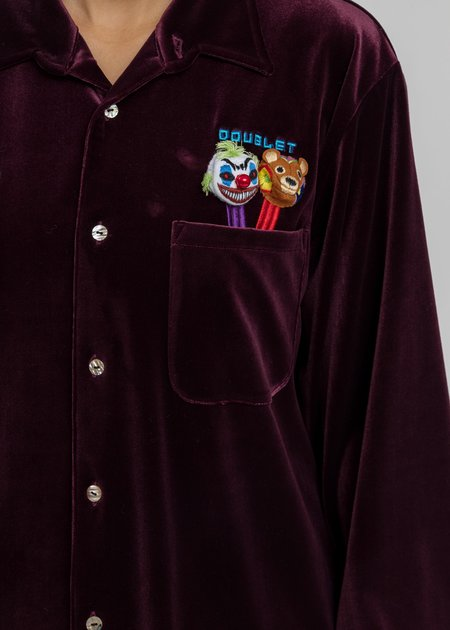 Doublet Puppet Embroidery Velour Shirts - Purple