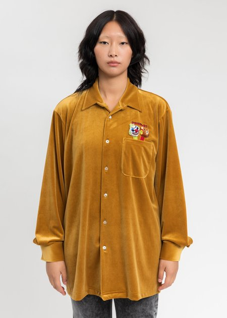 Doublet Puppet Embroidery Velour Shirts - Yellow