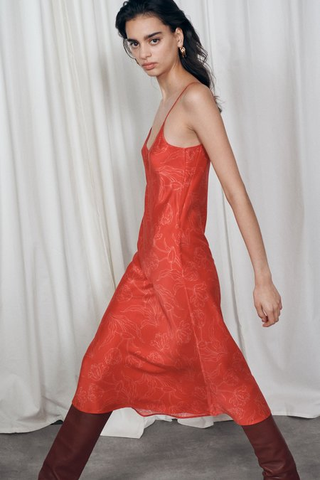 Silk Laundry 90's Silk Slip Dress - Red Tulips