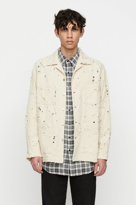 Schnayderman's boxy trashed twill Overshirt - off white