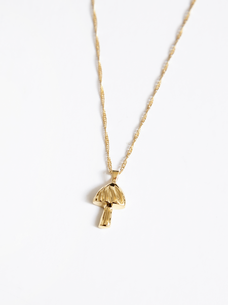 Wolf Circus Mushroom Charm Necklace - Gold