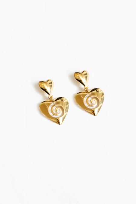 Wolf Circus Heart Swirl Statement Earring - Gold