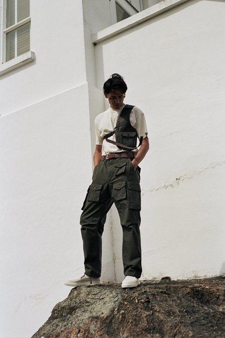 Engineered Garments Coated Twill Shoulder Vest - Dark Olive