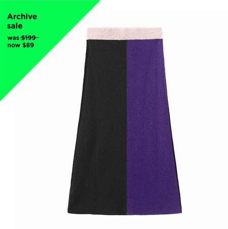 MATTER MATTERS Colour Block Knit Skirt - Black/Purple