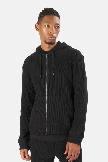 Men's Blue&Cream Waffle Zip Hoodie Sweater - Black