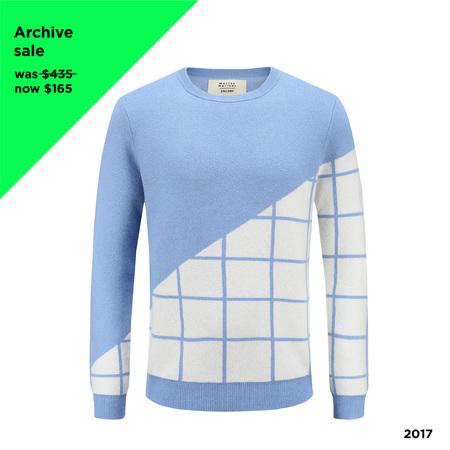 Matter Matters Grid Cashmere Sweater - Light Blue