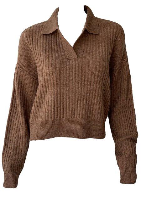 Rag & Bone Maxine Ribbed Polo Sweater - Camel