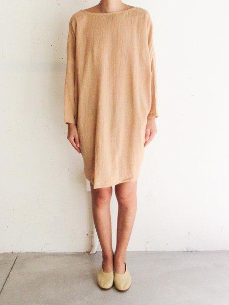 at Dawn. Boatneck Relax Short Dress - Tan/Black
