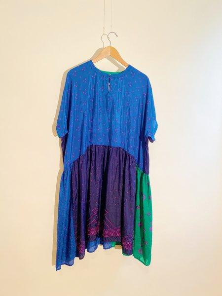 Shekhawati 12 Silk Shibori Dress - Blue