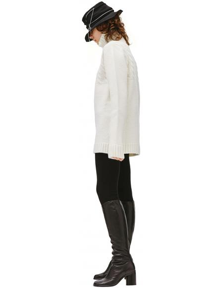 Maison Margiela High collar wool sweater - White