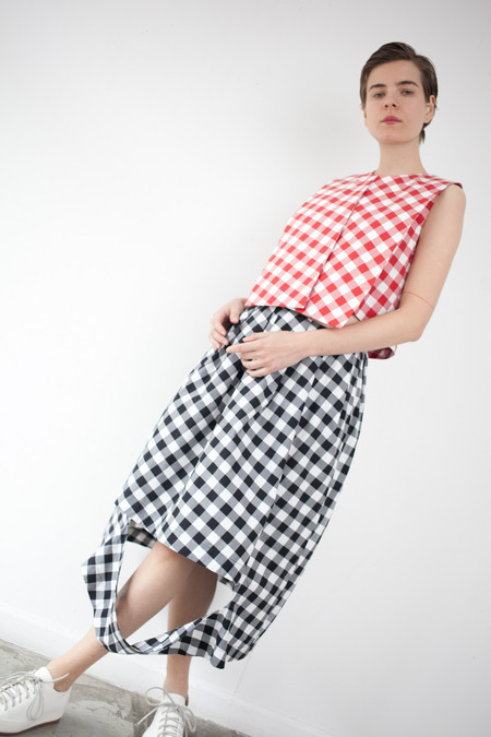 Nancy Stella Soto Cutout Skirt in Black Gingham