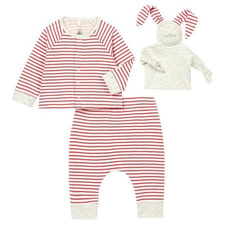 Kids Petit Bateau Baby Talar Outfit Marshmallow - White And Sea Urchin Orange