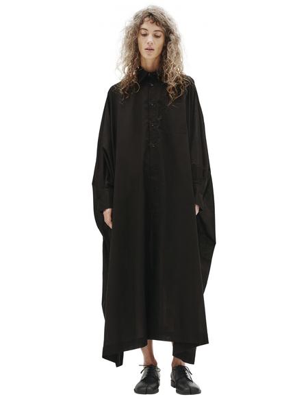 Y's Black Cotton Shirt Dress - Black