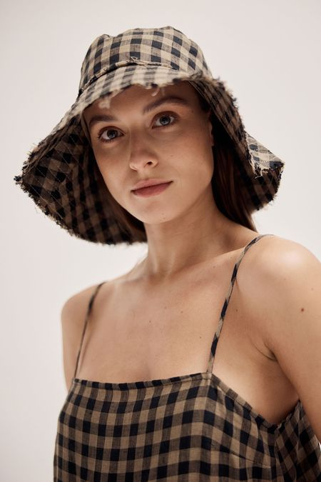 BEFORE MARCH Nonna hat - Otter gingham