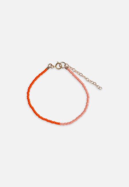Folkdays x El Puente with glass pearls bracelet  - orange/pink