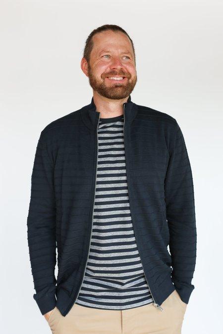 MATINIQUE Cardo Striped Zip-Up Sweater - Dark Navy