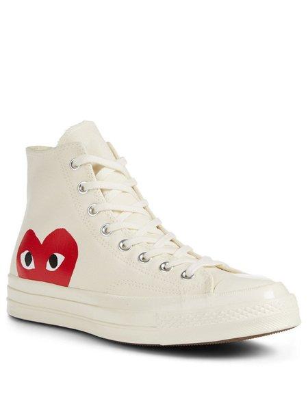 UNISEX Comme des Garçons Play Converse Chuck High Sneakers - Off White