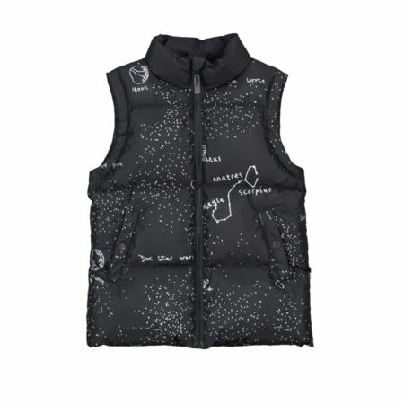 Kids Beau Loves Galaxy Recycled Puffa Vest - Black