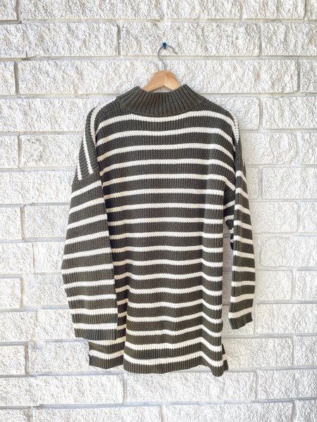 Apiece Apart Eco Carolina Pullover - Olive Stripe