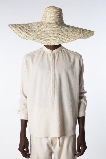 marrakeshi life varied stripe nero collar henley shirt - sand