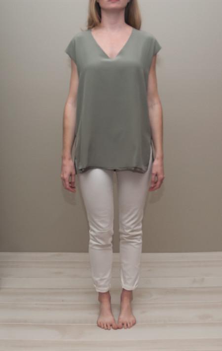 Heather silk front tunic