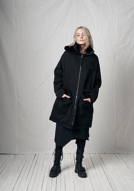 Pal Offner Oversized Hooded Embroidered Hands Coat - Black